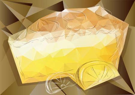 meringue: lemon pie with abstract lemon on triangular background