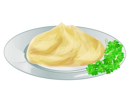 prepared potato: mash potatoes 9solated on a white backround