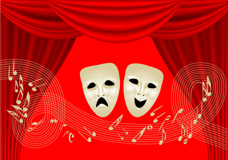 theatre masks: musical theatre. two masks and notes on red curtain Illustration