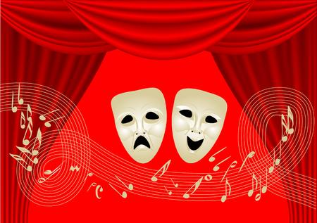 théâtre musical. deux masques et des notes sur rideau rouge