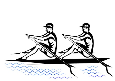 team rowing. two silhouette isolated oh a white background