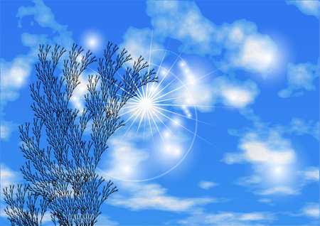 non urban: sky and herb. abstract background with clouds on blue sky Illustration
