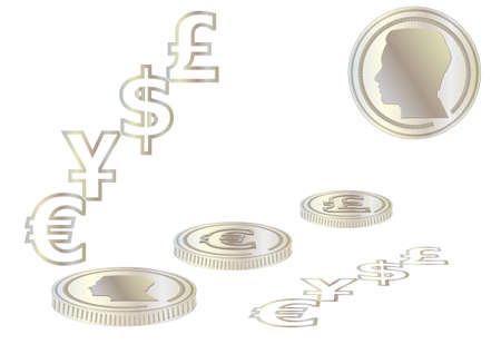 affluence: money. abstract money isolated on a white background