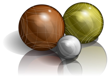 bocce: bocce. three balls on white background with shadow Illustration