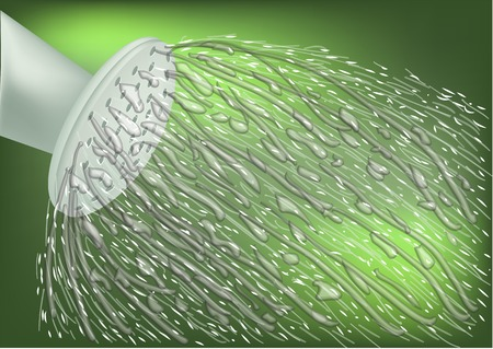 spalsh: garden watering. spalsh of water on abstract green background Illustration