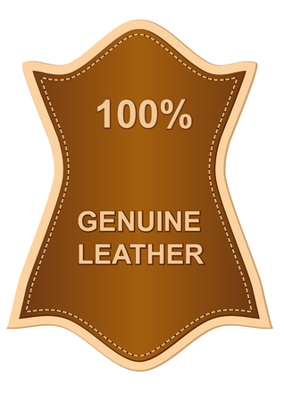 genuine leather: genuine leather label isolated on white background