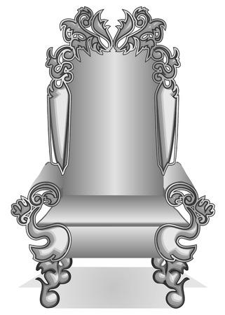 trono: rey trono. rey de dibujos animados trono aislado en blanco