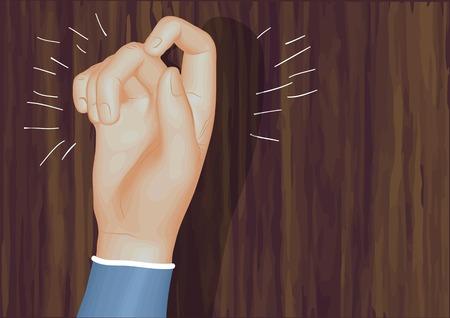 tocar la puerta: golpeando la puerta. mano humana y puerta de madera Vectores