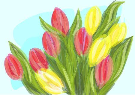 mixed: mixed tulip Illustration