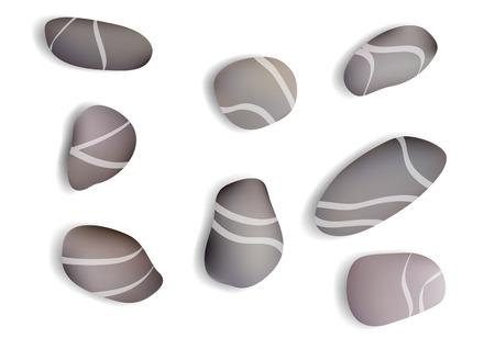 둥근 돌: pebbles white background with shadow. 10 EPS