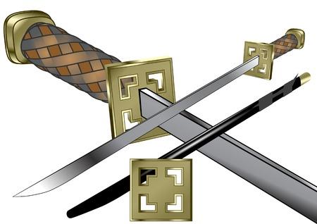 samurai weapon isolated on a white background Ilustração