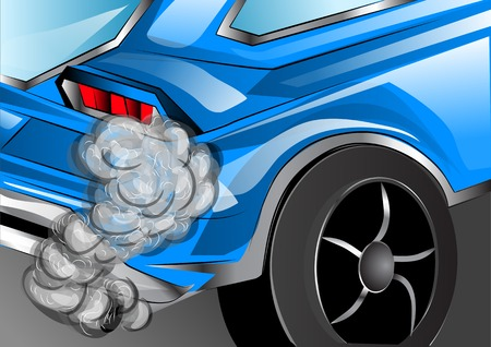 exhaust pipe: smoking exhaust. blue car with smoking exhaust pipe Illustration