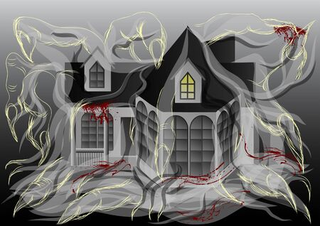 spooky house: spooky house illustration. abstract house with shadow and claws Illustration