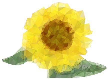 sunflower drawing: abstract sunflower drawing with triangles isolated on white