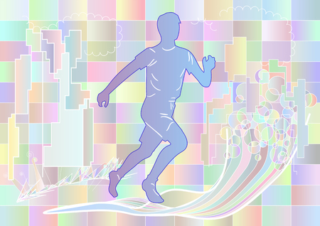 runing: jogging. multicolor silhouette of runing man on abstract background