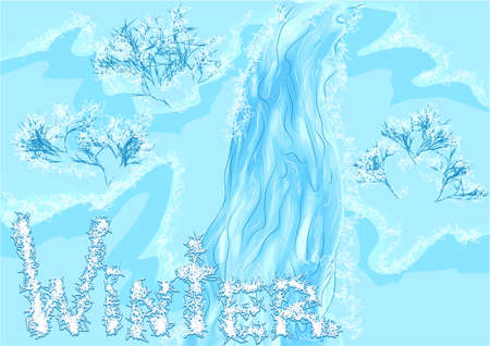 frozen trees: waterfall winter with frozen trees. 10 EPS Illustration