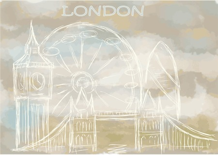 abstract london: london. abstract cityscape on abstract sky background
