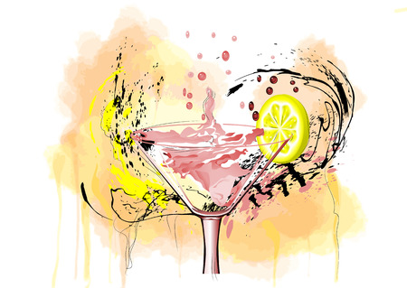 coctail: coctail and lemon on abstract multicolor background Illustration