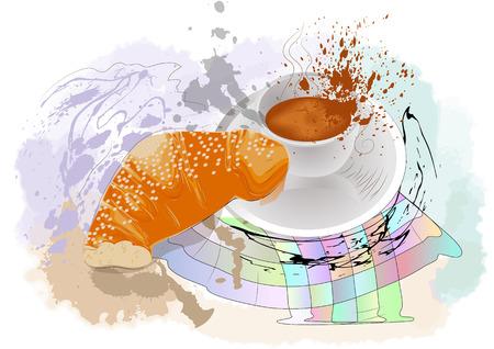 rinfreschi: caff� del mattino sul astratto sfondo multicolore