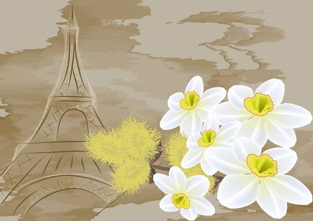 biege: Spring in Europe. flowers on abstract background Illustration