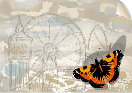 city background: city and butterfly. insect on abstract grunge background Illustration