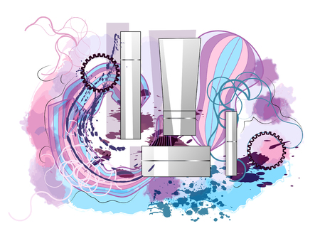 creme: perfumes and splash on abstract background