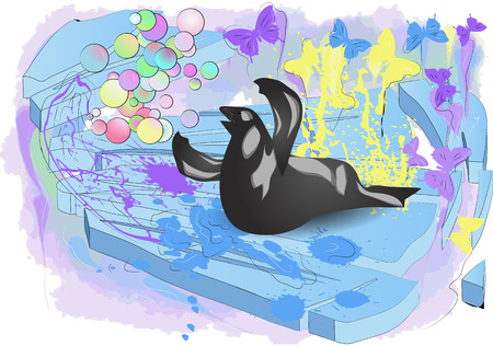 floe: walrus on ice with butterfly and multicolot bubble
