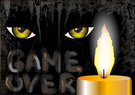the game is over: game over. candle and eyes on grunge background