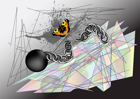 absract: Butterfly tearing chain. abstract environment multicolor background Illustration