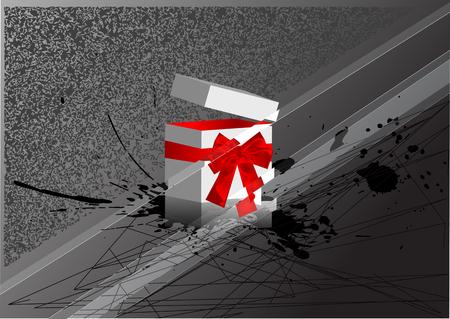 caja navidad: rect�ngulo de la Navidad con el arqueamiento en fondo oscuro Vectores