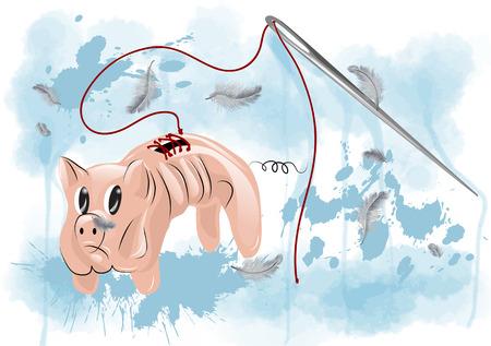shrink: thin piggy bank. cartoon pig and needle