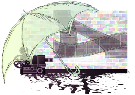 cinematograph: projector. abstract projector under umbrella with film strip