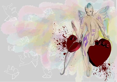 cupid. abstract punk cupid on grunge background Illustration