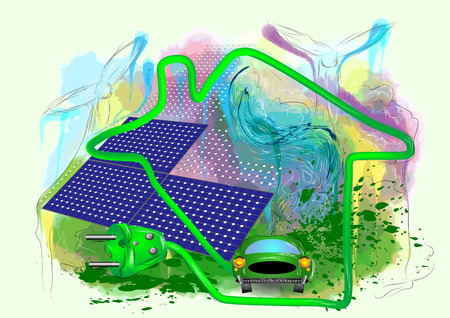 absract: alternative energy. absract grunge background with solar panel