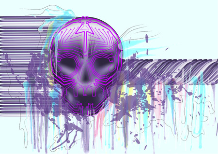 vulnerable: computer virus. skull on abstract multicolor background