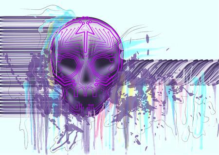 virus informatico: Virus de computadora. cr�neo en el fondo abstracto multicolor