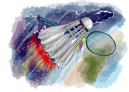 badminton championship. racquet and shuttle in fire on abstract grungy color