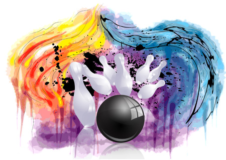 bowling strike. ninepins and ball on abstract grunge background Vectores