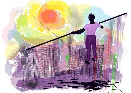 tightrope walker: ropewalker. man on the rope against gringe abstract sky