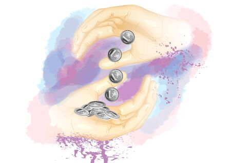 avarice: money and hand. two hand holding money on abstract background Illustration
