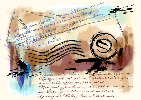 exchange of correspondence. abstract letter on grunge background