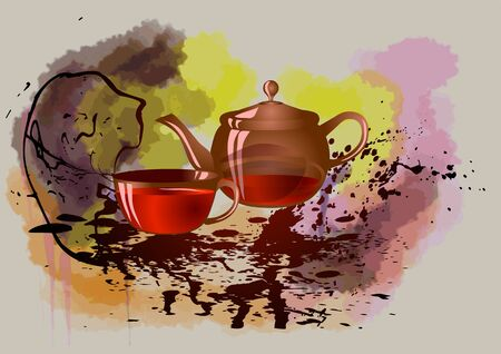 evening tea. teapot and cup of tea on abstract background Çizim