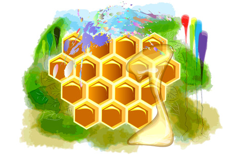 beeswax: summer honey. beeswax and honey on abstract multicolor background Illustration