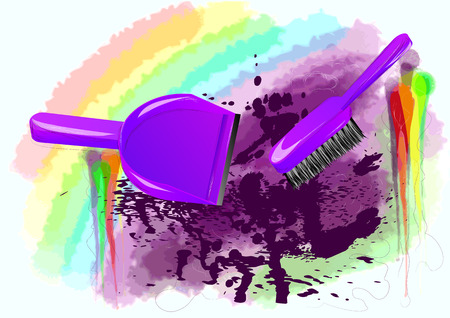 spring cleaning: spring-cleaning. brush and dustpan on abstract multicolor background Illustration