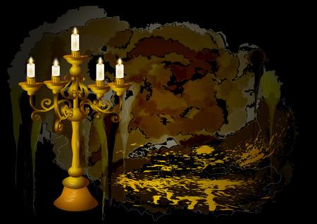 candelabrum: candelabrum and candles on abstract grunge background Illustration