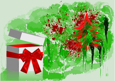 red bow: gift with red bow and tree on abstract grunge background