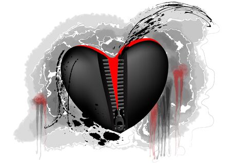 unzipped: black and red heart con zipper on abstract grunge background
