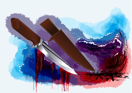 scheide: Jagdmesser auf abstrakten multicolor-Grunge-Hintergrund