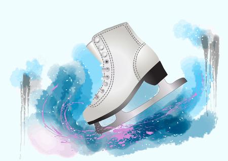 피겨 스케이팅. 스플래시와 여러 가지 빛깔의 배경에 스케이트