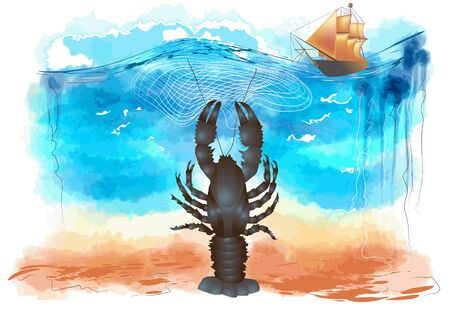 lobster: lobster in ocean catching ship with fishing grid